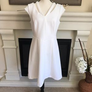 Chico's White Fit & Flare Capped Sleeve Dress Sz M